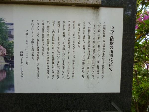 駿府城公園のツツジ由来の案内板